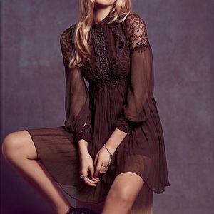 Free people Lou Lou babydoll dress lace embellish